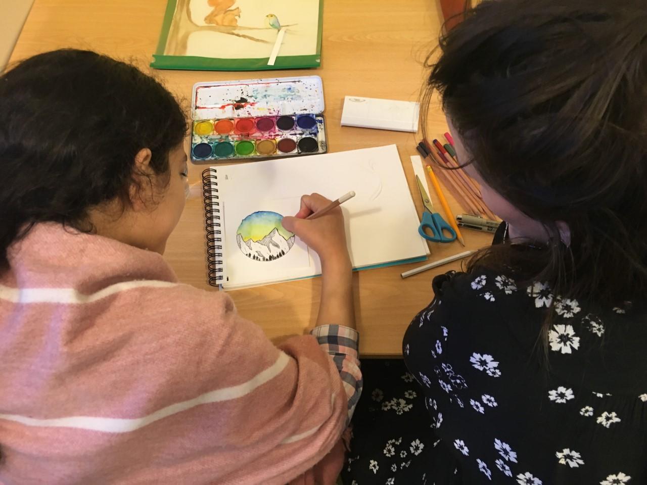 Tekenen tijdens workshop